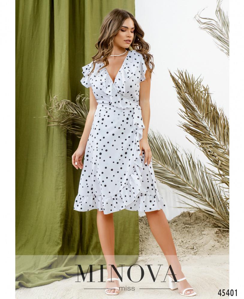 Очаровательное белое платье на запАх в горошек с рукавами-крылышками  размер  42, 44, 46