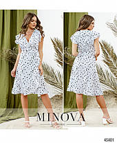 Очаровательное белое платье на запАх в горошек с рукавами-крылышками  размер  42, 44, 46, фото 3