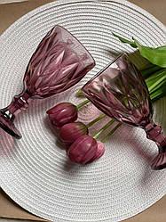 Набор из 6 бокалов из розового цветного стекла Изольда по 300 мл