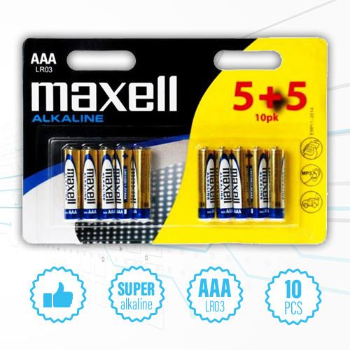 Щелочные алкалиновые батарейки минипальчик / микропальчик / мизинчик Maxell Alkaline - AAA, LR03, 10 шт