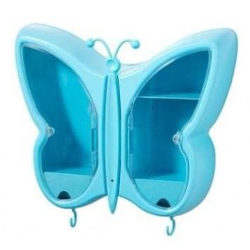 Полка-органайзер для косметики Бабочка Синий