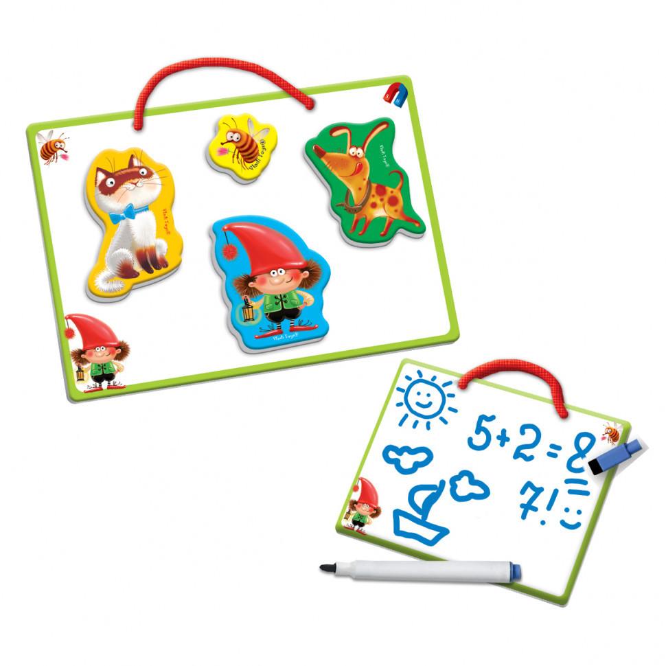 Магнитная доска для рисования малышам «Пиши-стирай». Друзья VT3601-12  с маркером