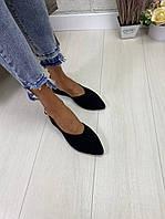 Женские туфли лодочки из натуральной замши. Цвет чёрный., фото 1