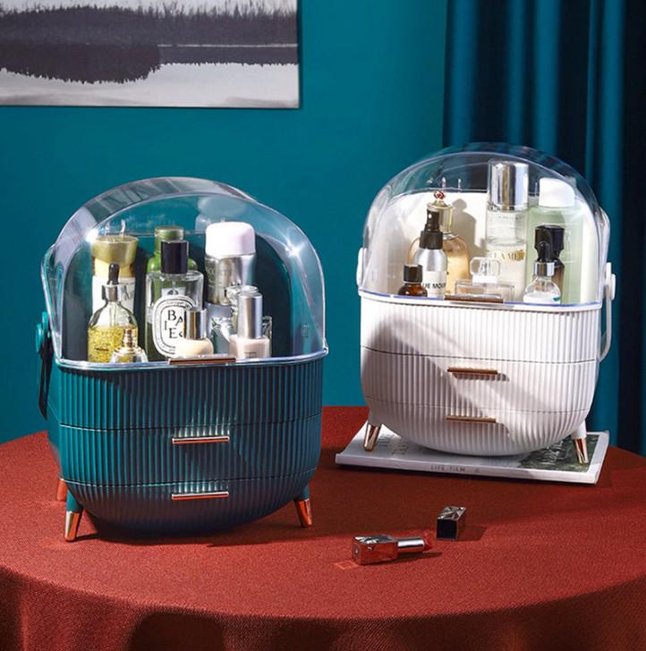 Набір для макіяжу 3в1 LED дзеркало + Органайзер для косметики + стакан для кистей Білий Зелений