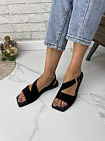 Жіночі босоніжки з квадратним носком з натуральної замші. Розміри 36-41, фото 1