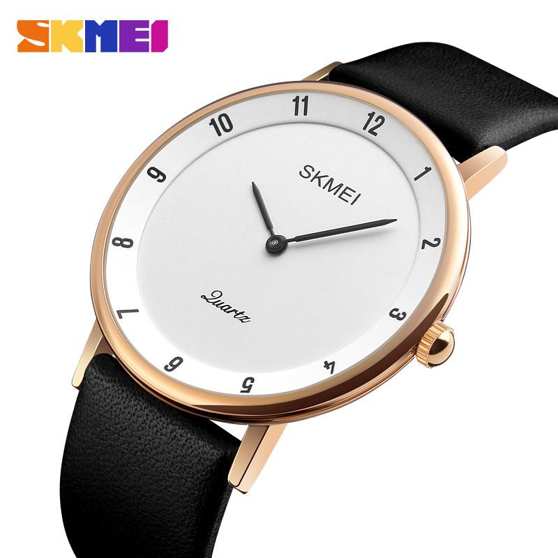 Skmei 1263 черные с золотом классические часы мужские