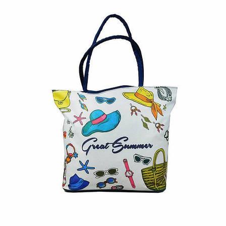 Пляжна сумка тканинна 649-5 (38х37х10), фото 2