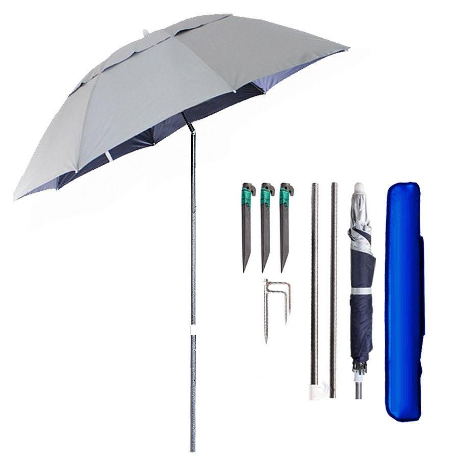 Зонт пляжный и садовый антиветер с наклоном 2.0 м, (с треногой, колышками и веревкой) UF-защита МН-2712