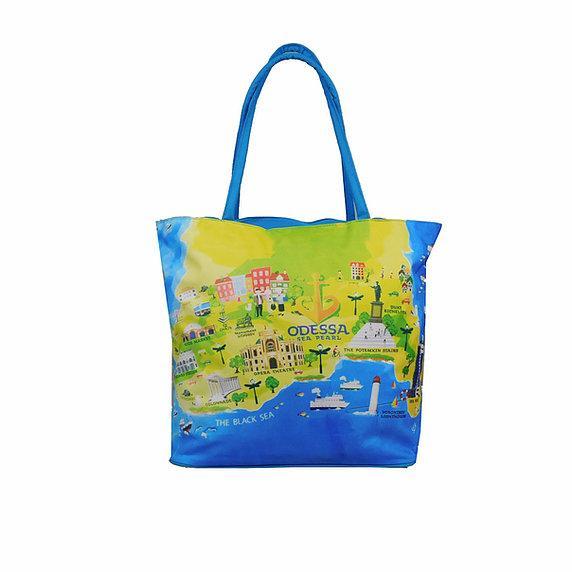 Пляжная сумка тканевая 649-1 (38х37х10)