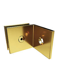 ODF-01-20-10 Крепление стекла к стене 90 градусов с полкой, цвет золото