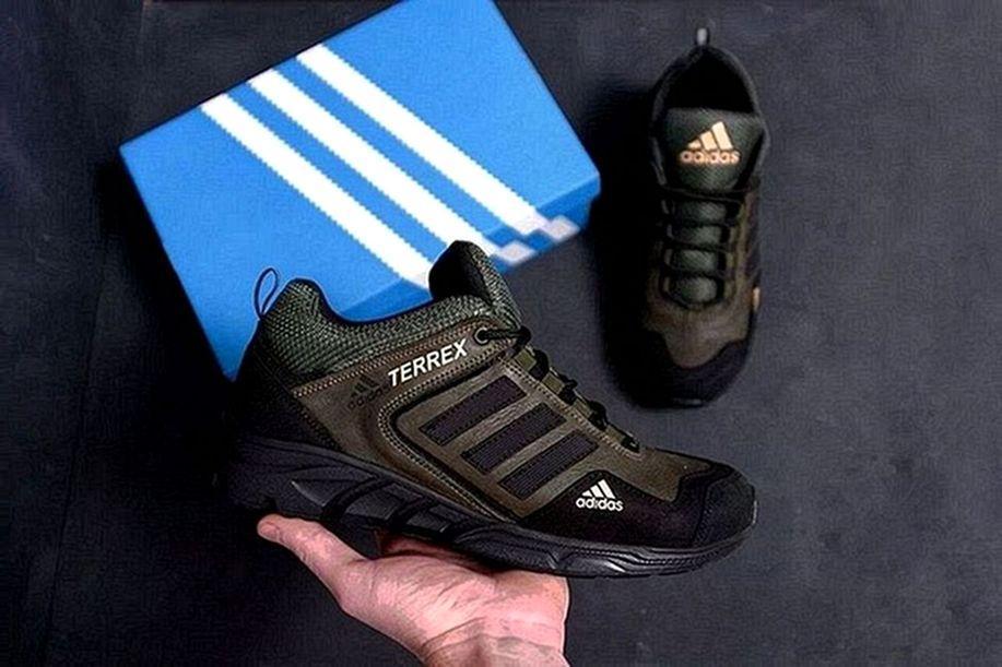 Мужские кожаные кроссовки Adidas хаки (Оливковые)