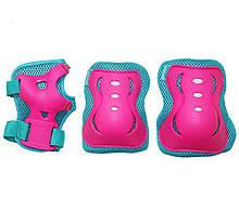 Комплект захисний на коліна лікті для роликів, скейта, пенниборда SportVida SV-KY0002-M Size M Blue-Pink
