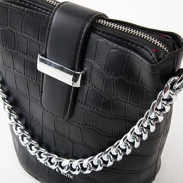 Сумка Женская кроко на цепочке кожзам FASHION 01-04 16909 черная, фото 2