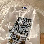 Жіноча футболка оверсайз прямого крою з написом на грудях повсякденна (р. S-L) 6817551, фото 2