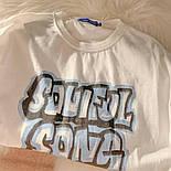 Жіноча футболка оверсайз прямого крою з написом на грудях повсякденна (р. S-L) 6817551, фото 3
