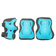 Комплект захисний на коліна лікті для роликів, скейта, пенниборда SportVida Size M Blue/Grey M41-277759