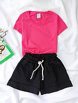 Комплект женский базовый (шорты и футболка). Женский летний костюм (красная футболка + черные шорты)., фото 2