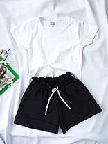 Комплект жіночий базовий (шорти і футболка). Жіночий літній костюм (сіра футболка + чорні шорти)., фото 2