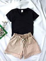 Комплект жіночий базовий (шорти і футболка). Жіночий літній костюм (червона футболка + бежеві шорти)., фото 3