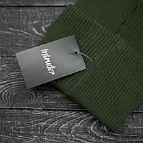 Шапка хаки и перчатки черные комплект, фото 3