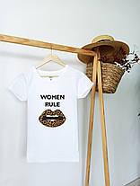 Футболка женская белая с модным принтом. Женская футболка белого цвета с принтом., фото 3