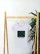 Футболка женская белая с модным принтом. Женская футболка белого цвета с принтом., фото 2
