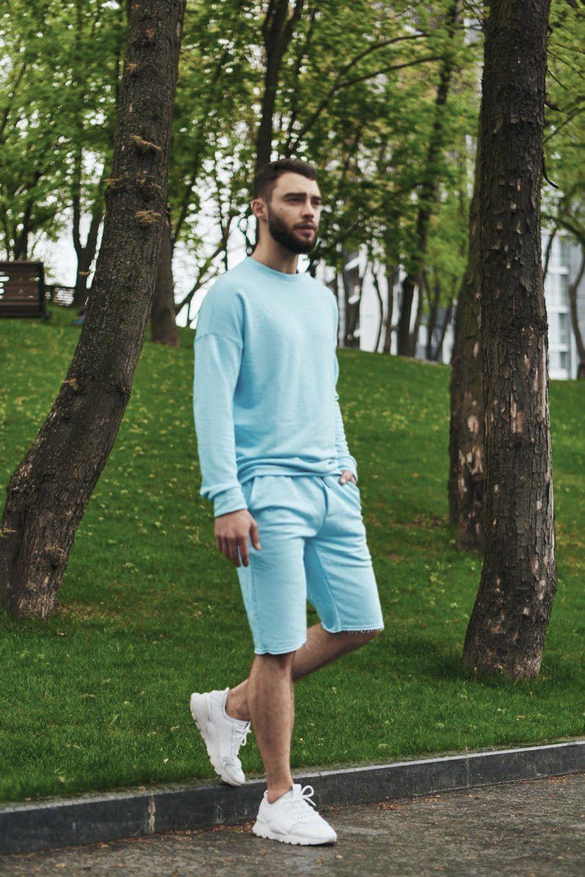 Кофта и шорты комплект мужской голубой