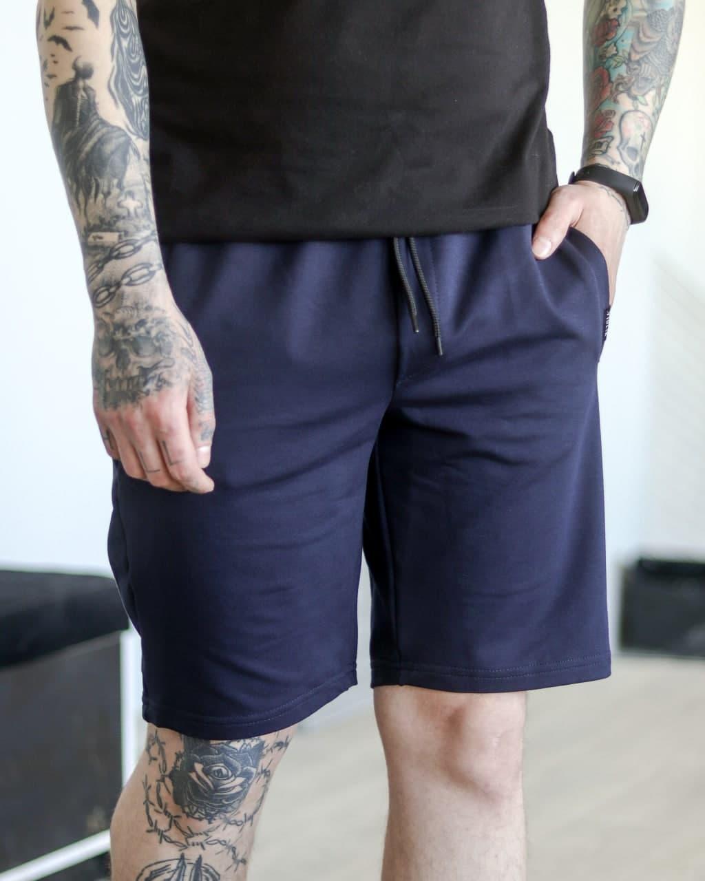 Шорти чоловічі базові літні темно-сині. Чоловічі літні шорти темно-синього кольору без принтів.