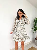 Сукня жіноча літнє з шифону біле з квітковим принтом. Жіноче літнє плаття шифонове в квіточку., фото 2