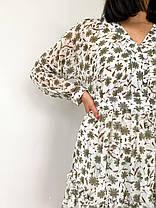 Сукня жіноча літнє з шифону біле з квітковим принтом. Жіноче літнє плаття шифонове в квіточку., фото 3
