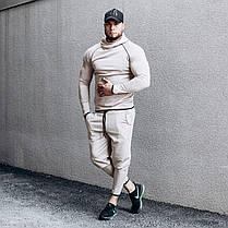 Костюм чоловічий спортивний бежевий. чоловічий спортивний костюм (худі + штани) бежевого кольору., фото 2