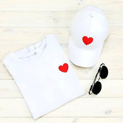 Футболка жіноча + кепка біла з принтом Heart серце, фото 2