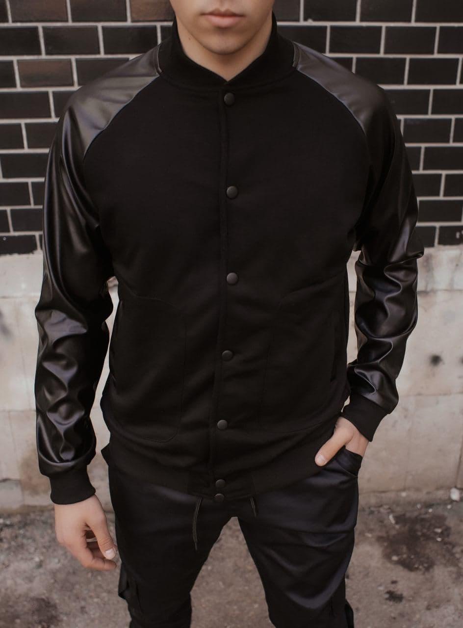 Бомбер чоловічий Re-Balance демісезонний чорного кольору. Чоловіча весняна / осіння куртка чорна.