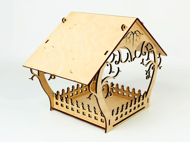 Годівниця дерев'яна підвісна вулична для птахів 23х29х18 з оригінальним візерунком
