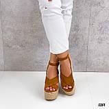 Женские босоножки рыжие / коричневые на танкетке- платформе 12 см эко замша, фото 5