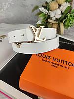 Белый женский кожаный ремень Louis Vuitton (Луи Витон) ЛВ