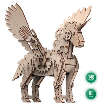 """Іграшка механічна дерев'яна 3D-модель """"Механічний єдиноріг"""" №10603/ПлейВуд/"""