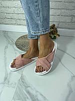 Женские розовые замшевые шлёпанцы. Размеры 36-41, фото 1