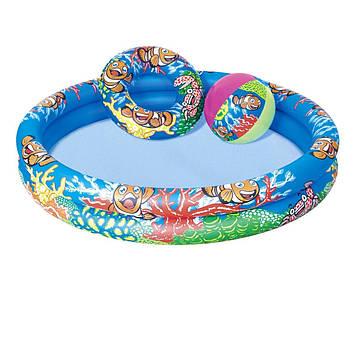 """Басейн дитячий круглий """"Підводний світ"""",122х20см,2 кільця,м'яч,у кор-ці №BW51124(12)"""