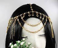Роскошная Тика украшение на голову цепочка Стразы (золото) №61, фото 1