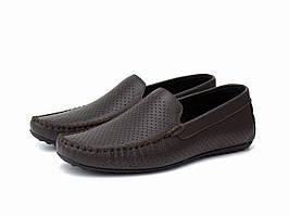 Коричневые летние мокасины кожаные перфорация летняя мужская обувь Rosso Avangard M4 Perf Brown Fl