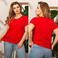 Женская летняя футболка №7501 (р.48-62) красный