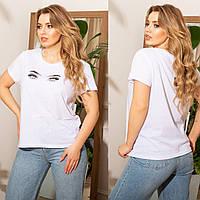 Женская летняя футболка №7501 (р.48-62) белый