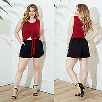 Женский летний повседневный костюм майка+шорты №756 (р.48-62) бордовый+чёрный