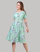 Шикарне ошатне літнє плаття з широким коротким рукавчиком, поясом і бічними кишенями розмірів 46-52
