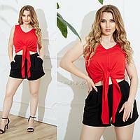 Женский летний повседневный костюм майка+шорты №756 (р.48-62) красный+чёрный