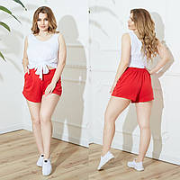 Женский летний повседневный костюм майка+шорты №756 (р.48-62) белый+красный
