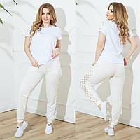 Женский летний повседневный костюм №753 (р.48-62) белый-молоко