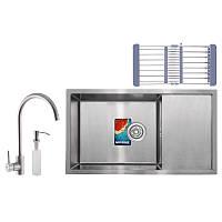 Набор для кухни MIXXUS SET-7844-200x1.0-SATIN (мойка+смеситель+диспенсер+сушка для посуды) (MX0582)