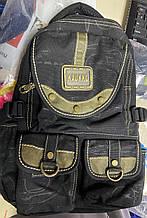 Рюкзак чёрный из  джинсовой ткани с тремя  карманами чёрная принтованая